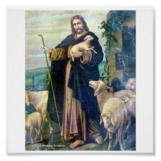 THE GOOD SHEPHERD ON CANVAS c.1900 Poster