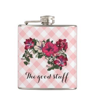 """The Good Stuff"" Feminine with Flowers Hip Flask"