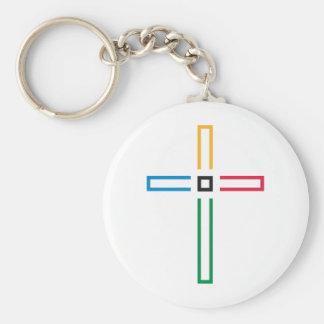 The Gospel Cross Basic Round Button Key Ring