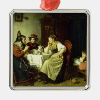 The Gossips, 1887 Silver-Colored Square Decoration