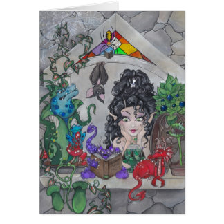 """The Gothic Window"" fantasy blank greeting card"