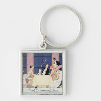 The Gourmands, 1920-30 (pochoir print) Key Ring