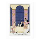 The Gourmands, 1920-30 (pochoir print) Postcard