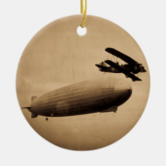 The Graf Zeppelin Approaching New York City 1928 Christmas Ornament