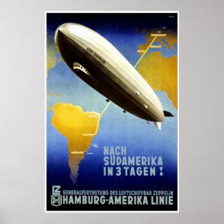 The Graf Zeppelin Line Vintage Travel Poster