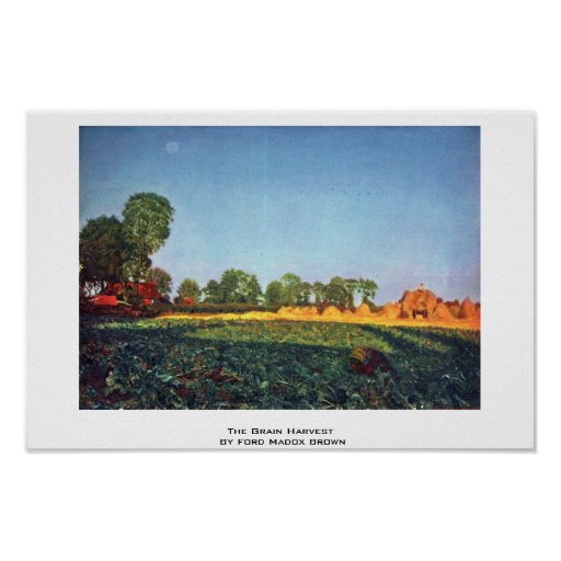 The Grain Harvest By Ford Madox Brown Posters