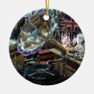 The Gramaphone Round Ceramic Decoration