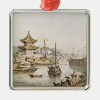 The Grand Canal, China, (w/c) Silver-Colored Square Decoration