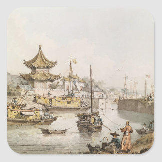 The Grand Canal, China, (w/c) Square Sticker