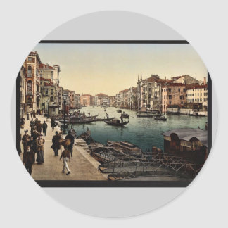 The Grand Canal view II Venice Italy vintage Ph Round Stickers