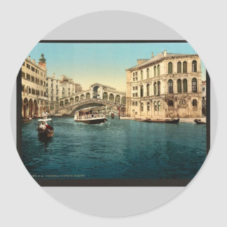The Grand Canal with the Rialto Bridge Venice It Round Stickers