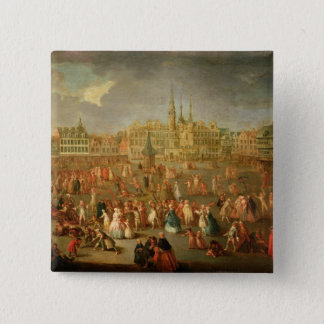 The Grand Place during Mardi Gras, Cambrai, 1765 15 Cm Square Badge
