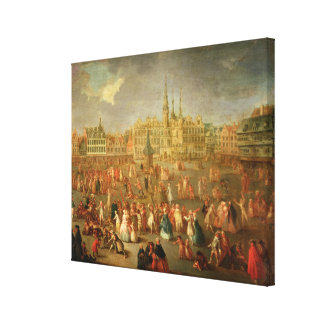 The Grand Place during Mardi Gras, Cambrai, 1765 Canvas Print
