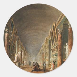 The Grande Galerie by Hubert Robert Round Sticker
