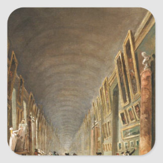 The Grande Galerie by Hubert Robert Square Sticker
