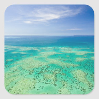 The Great Barrier Reef, aerial view of Green 2 Square Stickers