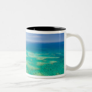 The Great Barrier Reef, aerial view of Green 2 Two-Tone Coffee Mug