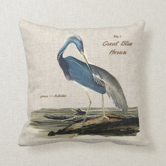 The Great Blue Heron- Poly knit Cushion