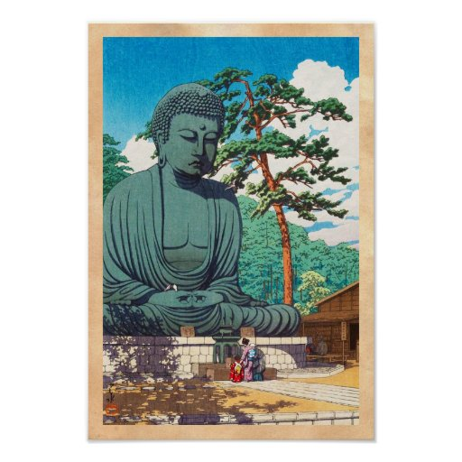 The Great Buddha at Kamakura Hasui Kawase hanga Poster