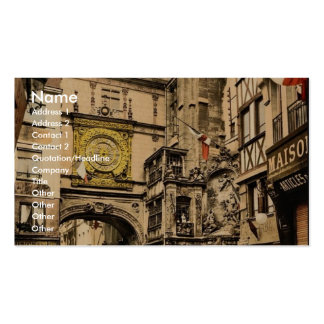 The great clock, Rouen, France vintage Photochrom Business Card Templates