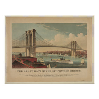The Great East River Suspension Bridge - New York Poster