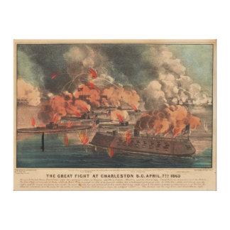 The Great Fight At Charleston 1863 Civil War Canvas Prints