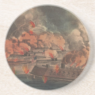 The Great Fight At Charleston 1863 Civil War Drink Coaster