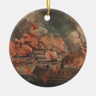 The Great Fight At Charleston 1863 Civil War Round Ceramic Decoration