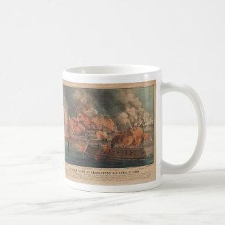The Great Fight At Charleston 1863 Civil War Basic White Mug