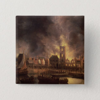 The Great Fire in the Old Town Hall, Amsterdam 15 Cm Square Badge