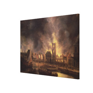 The Great Fire in the Old Town Hall, Amsterdam Canvas Print