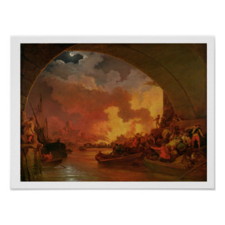 The Great Fire of London, c.1797 (oil on canvas) Poster