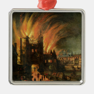 The Great Fire of London (September 1666) with Lud Silver-Colored Square Decoration