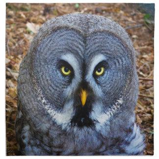 The Great Grey Owl Strix Nebulosa Lapland Owl Printed Napkin