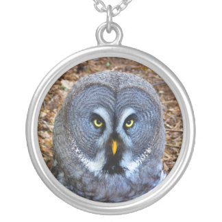 The Great Grey Owl Strix Nebulosa Lapland Owl Silver Plated Necklace