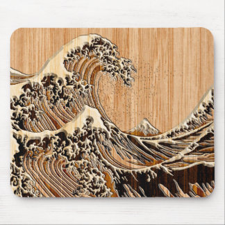 The Great Hokusai Wave Bamboo Wood Grain Style Mouse Mat