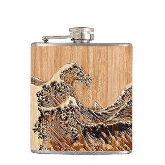 The Great Hokusai Wave Bamboo Wood Style Accent Flasks