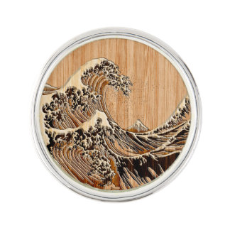 The Great Hokusai Wave Bamboo Wood Style decor Lapel Pin
