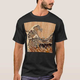 The Great Hokusai Wave Bamboo Wood Style decor T-Shirt