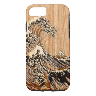 The Great Hokusai Wave Bamboo Wood Style iPhone 7 Case