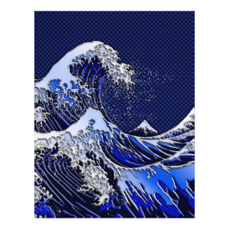 The Great Hokusai Wave chrome carbon fiber styles 21.5 Cm X 28 Cm Flyer