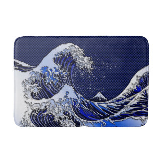 The Great Hokusai Wave chrome carbon fiber styles Bath Mat