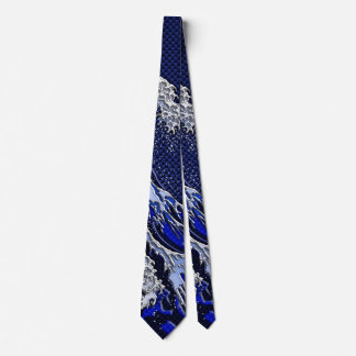 The Great Hokusai Wave chrome carbon fiber styles Tie