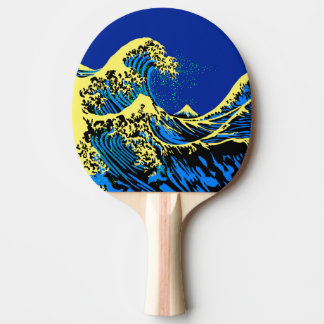The Great Hokusai Wave in Blue Pop Art Style Ping Pong Paddle