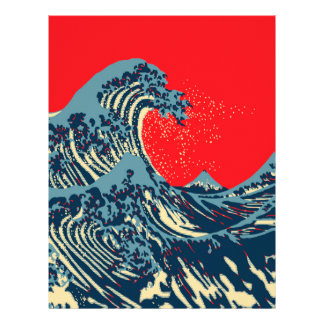 The Great Hokusai Wave in Hope Art Style 21.5 Cm X 28 Cm Flyer