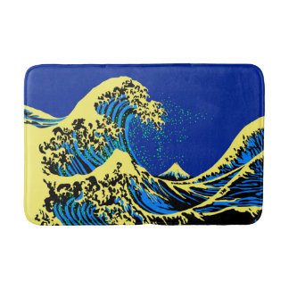 The Great Hokusai Wave in Pop Art Style Bath Mat