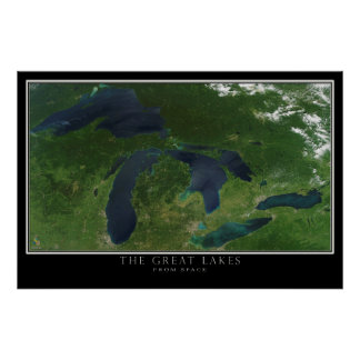 The Great Lakes From Space Satellite Map Poster