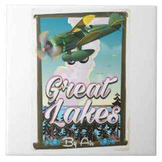 The Great Lakes plane travel poster Tile