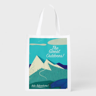 The Great Outdoors vintage poster Reusable Grocery Bag
