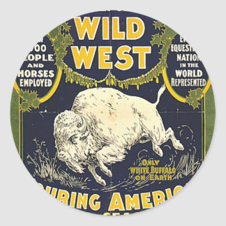 The Great Pawnee Bill shows. The only genuine wild Round Sticker